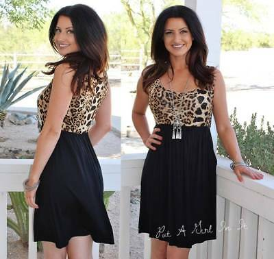 Animal Leopard Print Black Sleeveless Elastic Tank Mini Dress Boho S M L Usa