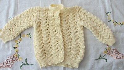 Vintage Style Hand Knitted Baby Cardigan in Cream,new