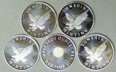 Lot of 5 Sunshine Minting 1/2 oz .999 Fine Silver Rounds Total 2.5 oz of Silver