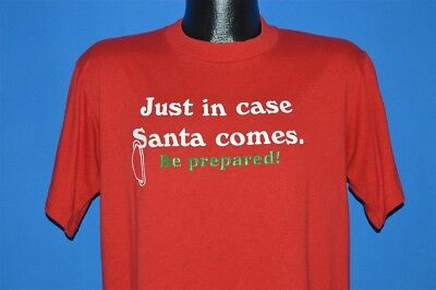vintage 80s JUST IN CASE SANTA COMES BE PREPARED FUNNY NAUGHTY t-shirt LARGE L