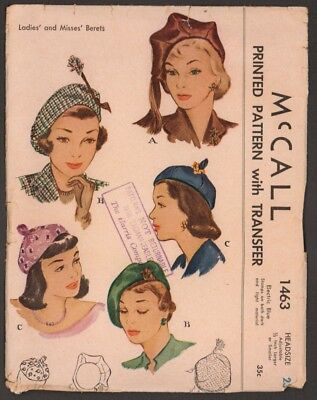 """Circa 1949 FF McCall Pattern for Ladies' and Misses' Berets Size 23"""""""