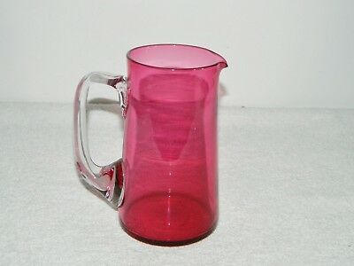 Smooth Hand Blown Cranberry Glass Pitcher with Clear Applied Handle