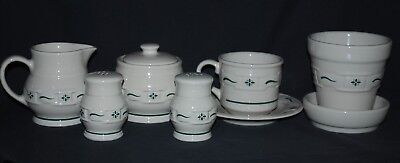 Lot 7 Longaberger Woven Traditions Heritage Green Creamer, Sugar, Shakers, Cup,
