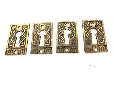 Lot of 4 Antique Vintage Cast  Brass Key Hole Escutcheon Plates