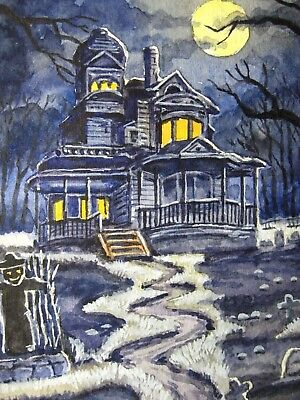 8x10 PRINT OF HALLOWEEN WATERCOLOR PAINTING RYTA HAUNTED HOUSE BATS FALL ALLEY