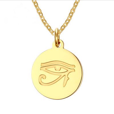 Mens Jewelry Round Gold The Eye of Horus Pendant Charm Stainless Steel Necklace