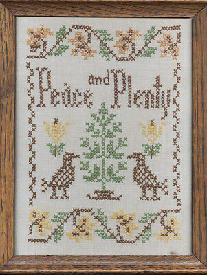Framed Peace And Plenty Sampler 9 X 11 Inches
