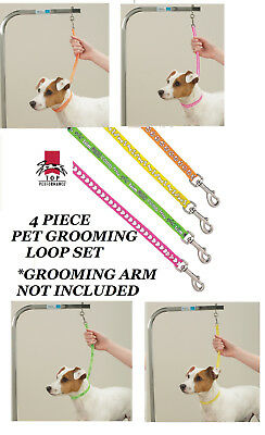 4 pc GROOMER PRINT PAW BONE HEART LOOP SET for PET Grooming Table Arm Bath NOOSE
