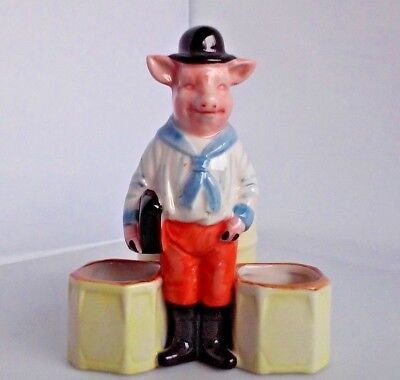 Vintage Porcelain Schoolboy Pig Mustard Pot and Condiment Holders