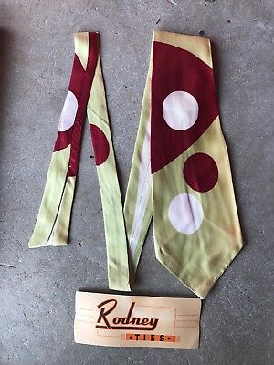 Original 1940S  Rodney Ties  Deadstock Vintage Tie  Swing Band Tie Rockabilly
