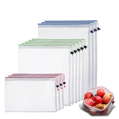 Lots of 11 Reusable Mesh Bag Grocery Shopping Vegetable Fruit Toys Storage S M L