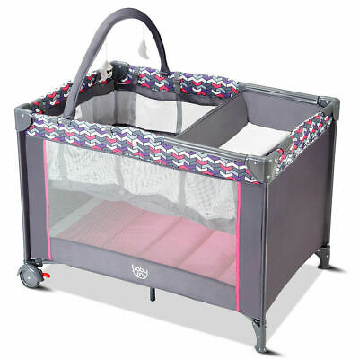 Folding Travel Baby Crib Playpen Infant Bassinet Bed Changing Table w/Baby Toys