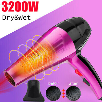 3200W Professional Hair Dryer Hot & Cold Ionic Blow Heating Large Power 4-Mode