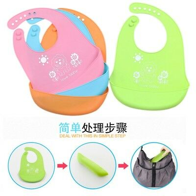 Waterproof Baby Silicone Bibs Feeding bib Kids Roll up Food Catcher Pocket USA