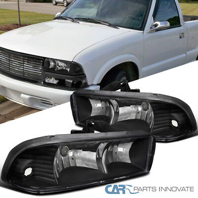98-04 Chevy S10 Blazer Pickup Euro Black Headlights Driving Lamps Replacement