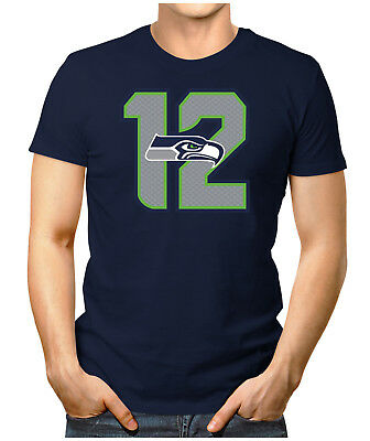 Herren Fan T-Shirt - Seattle Seahawks 12th American Super Bowl NFL Small bis 5XL