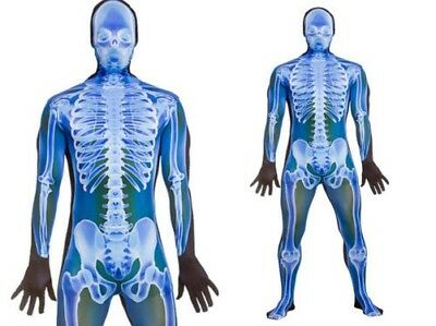 335c49476b01f Adult Skeleton Lycra Bodysuit X-Ray Skeletons Fancy Dress Halloween Suit