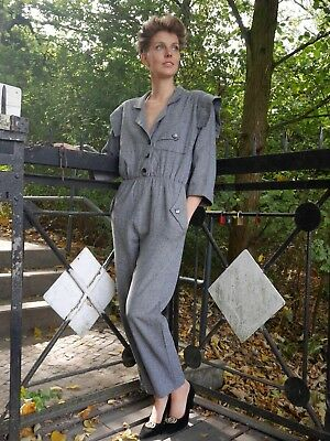 Overall 38 Einteiler 80er New Wave grau W. Germany TRUE VINTAGE 80s jumpsuit