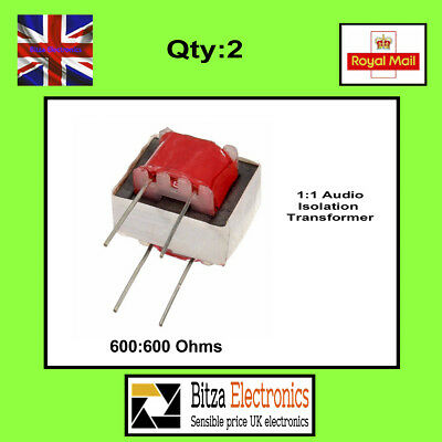 2x 600:600 Ohm 1:1 Audio isolating transformer  UK Seller