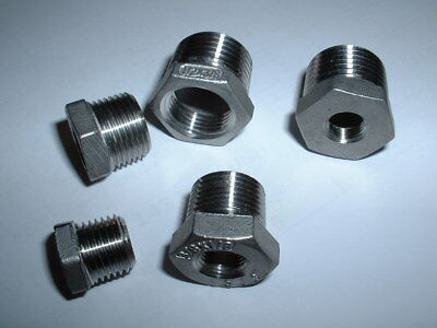316 Stainless Bspt Taper Male Reducer To Bsp Female Gauge Adapter Bush All Sizes