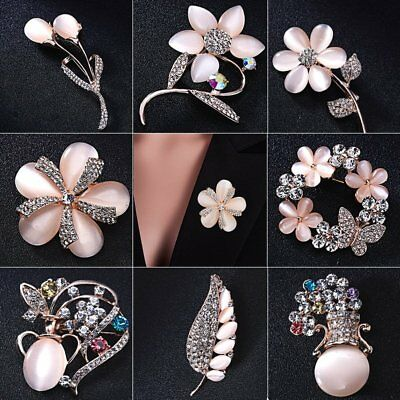 Elegant Weeding Bridal Crystal Flower Vase Brooch Pin Women Breastpin Jewelry