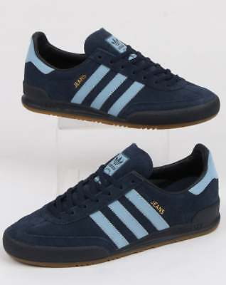 adidas Jeans Trainers in Navy & Sky Blue - retro terrace classics in suede