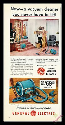 1956 Vintage Print Ad~General Electric G.E.~Roll-easy Vacuum Cleaner~J500