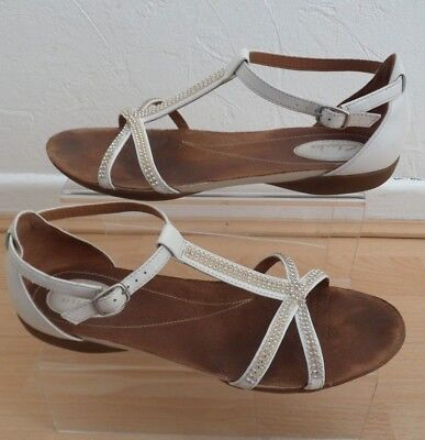 af465265d Clarks Raffi Star White Leather   Jewels Sandals Size 6 D Ladies Gorgeous  Style