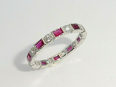 Ladies Art Deco Halo Style 925 Sterling Silver Sapphire & Red Ruby Eternity Ring