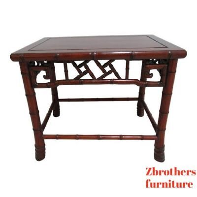 Vintage Quality Rosewood Chinese Chippendale Faux Bamboo Lamp End Table B
