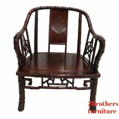 Vintage Quality Rosewood Chinese Chippendale Faux Bamboo Lounge Chair A