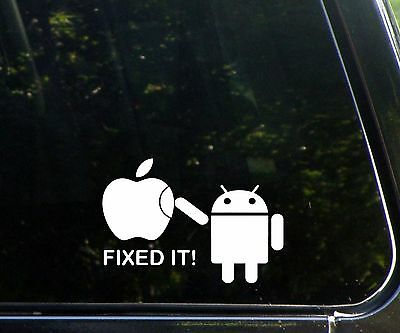 Android - fixed it! - funny die cut decal / sticker apple