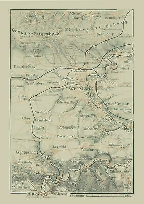 Map Of Germany In 1914.International Map Weimar Germany Baedeker 1914 23 X 32 12
