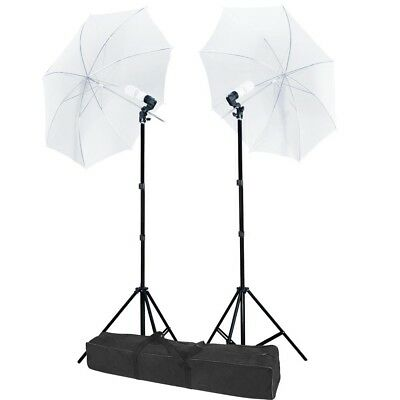 "2 x 33"" Lighting Umbrella Photography Light Stand Kit + 45w Blubs w/ Carry Bag"