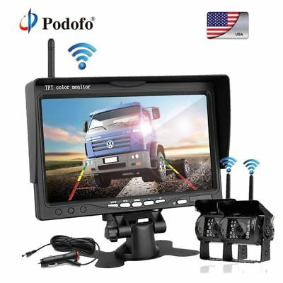 "2× Wireless Rear View Backup Camera Night Vision + 7"" TFT LCD Monitor Bus Truck"