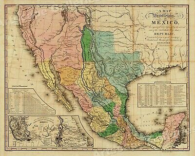 """1820s """"United States of Mexico"""" Vintage Style Southest Wall Map - 24x30"""