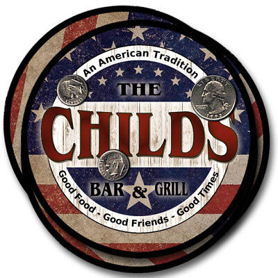 Childs Family Name Drink Coasters - 4pcs - Wine Beer Coffee & Bar Designs