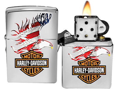 Zippo Lighter 28082 Harley Davidson Flag Eagle High Polish Chrome NEW