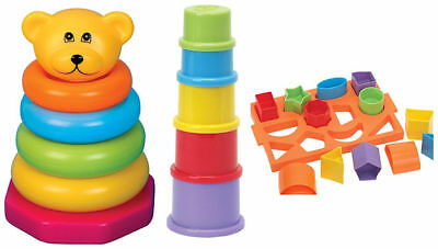 Fun Time Baby Toddler Shape Sorter Stacking Rings And Cups Gift Set 12 Months +