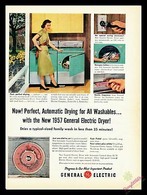 1957 Vintage Print Ad~General Electric~G.E.~Green~Laundry~Dryer~Washer~Room~J500