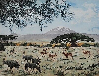 STANISLAW (Stacha) HALPERN Aquatint Colour ETCHING African Plains 19x25cm