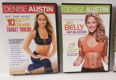 17 WORKOUT DENISE AUSTIN 2 DVDS 10 TARGET TONERS + 7 ABS +FREE Fitness Bonuses