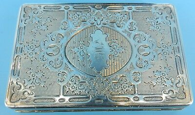 Antique Sterling Silver Hand Chased Memoire Card Case Slide Latch Beautiful