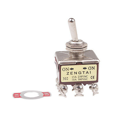 1x Panel Mount Toggle Switch 3P2T 3PDT 2 Position ON/ON 9 Pin 380V 10A 250V 15A