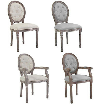 French Louis Xvi Style Gray Or Beige Upholstered Button Tufted Arm Or Side Chair