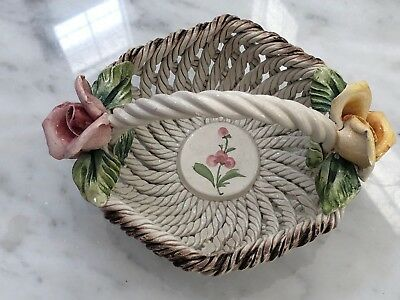 Genuine Italian Capodimonte flower basket with handle With Stamps Capodimonte