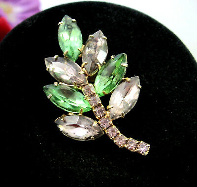 LAVENDER & GREEN Rhinestone LEAF Flower Brooch Vintage Pin Goldtone 1 13/16""