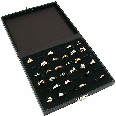 36 Slot Ring Tray Display Black Travel Jewelry Showcase FOR PICK UP ONLY