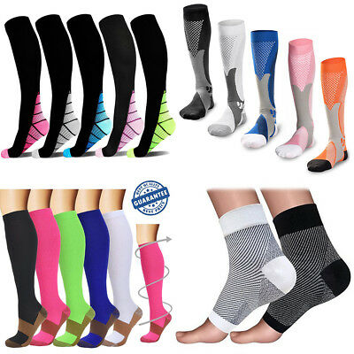 Unisex Copper Compression Socks Anti Fatigue Travel Varicose Vein Flight Socks A
