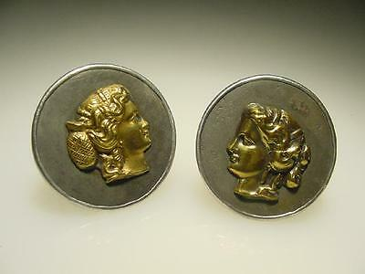 Vintage Sterling Silver Antique Brass Roman Greek Women Face Cameo Cuff Links